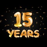 Golden color number 15 years greeting card. Vector illustration royalty free illustration
