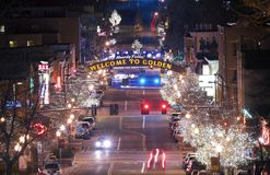 Golden Colorado Main Street Royalty Free Stock Photography