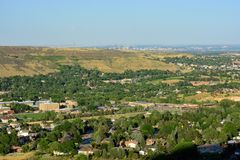 Golden, Colorado on a sunny day with the Denver skyline in the b Royalty Free Stock Images