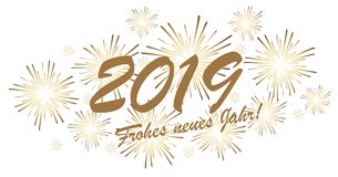 Happy New Year 2019 fireworks concept. Golden colored fireworks concept for New Year 2019 greetings (german text) with white background stock illustration