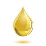 Golden colored liquid drop icon with a shadow Royalty Free Stock Photography