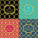 Golden and colorful trendy and stylish decoration background set Royalty Free Stock Photo