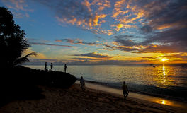 Golden colors of Sunset on the north west coast of Barbados Stock Image