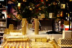 Golden colour Christmas boxes Stock Photo