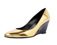 Golden colour high heel on white Royalty Free Stock Photography