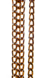 Golden coloured metal chain isolated on white Royalty Free Stock Photo