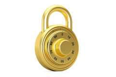 Golden combination padlock, 3D rendering Stock Image
