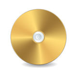 Golden compact disc. A golden compact disc,   object over white background Stock Photography
