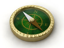 Golden compass. Rendered isolated golden compass on white background Royalty Free Stock Photo