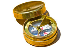 Golden compass. Antique golden compass from North America - Canada Royalty Free Stock Photos