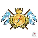 Golden compass with crown between wreath and flags on white. Sport logo for any yachting or sailing team. Or championship stock illustration
