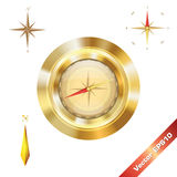 The golden compass. Digital golden compass for art Stock Image