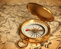 Golden Compass On The Map Royalty Free Stock Photo