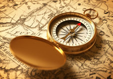 Golden Compass On Old Map. 3D Illustration Stock Photo