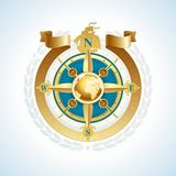 Golden compass rose with globe & ribbon Royalty Free Stock Image