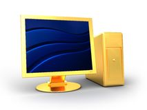 Golden computer Royalty Free Stock Images