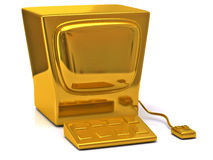 Golden computer Royalty Free Stock Photography