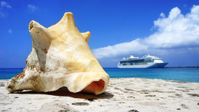 Conch and Ship Royalty Free Stock Images