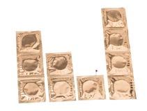 Golden condoms stock image