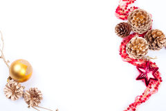 Golden cones with garland balls isolated on white Stock Image