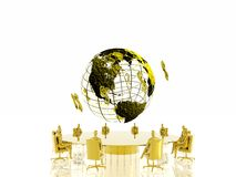 Golden conference. Royalty Free Stock Image