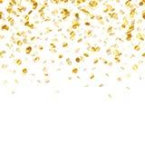Golden confetti background. Seamless horizontal.