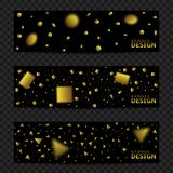 Golden confetti banners. Golden blurred confetti ribbons banner set. Victory flyers, first place Stock Photos