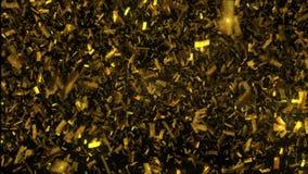Golden confetti fall on black background. 3D illustration stock image