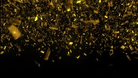 Golden confetti fall on black background. 3D illustration stock photos