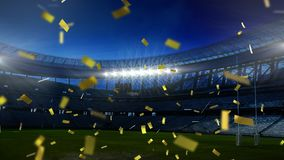 Golden confetti falling down in front of a sports stadium. Animation of golden confetti falling down in front of sports stadium stock illustration