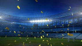 Golden confetti falling down in front of a sports stadium. Animation of golden confetti falling down in front of sports stadium royalty free illustration