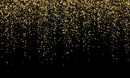 Golden confetti and falling gold glitter, black vector background. Carnival or birthday party glowing golden confetti background. Golden confetti and falling vector illustration