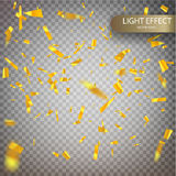 Golden confetti falls isolated. Vector Festive Illustration of Falling Shiny Confetti Glitters Isolated on Transparent Checkered Background. Holiday Decorative Royalty Free Stock Photography