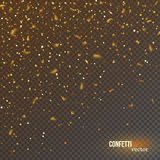 Golden confetti glitters, festive falling shiny particles. Festive falling shiny particles and stars isolated on transparent background. Golden confetti Royalty Free Stock Photo