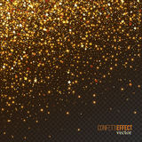 Golden confetti glitters, festive falling shiny particles. Festive falling shiny particles and stars  on transparent background. Golden confetti glitters Stock Image