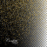 Golden Confetti Glitters. Vector Festive Illustration of Falling Shiny Particles. Sparkling Texture Isolated on Transparent Checkered Background. Holiday Royalty Free Stock Images