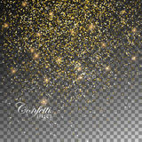 Golden Confetti Glitters. Vector Festive Illustration of Falling Shiny Particles And Stars. Sparkling Texture Isolated on Transparent Checkered Background Royalty Free Stock Photos