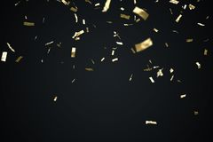 Golden confetti isolated on black background. 3D rendered illustration.  Stock Images