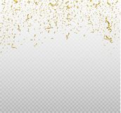 Golden confetti, isolated on cellular background. Festive vector illustration Tiny confetti with ribbon on white. Background. Festive event and party. Vector Stock Image