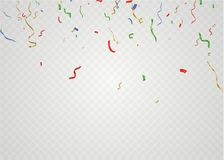 Golden confetti, isolated on cellular background. Festive vector illustration Tiny confetti with ribbon on white. Background. Festive event and party. Vector Royalty Free Stock Photo