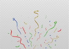 Golden confetti, isolated on cellular background. Festive vector illustration Tiny confetti with ribbon on white. Background. Festive event and party. Vector Stock Photography