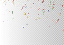 Golden confetti, isolated on cellular background. Festive vector illustration Tiny confetti with ribbon on white. Background. Festive event and party. Vector Royalty Free Stock Photos