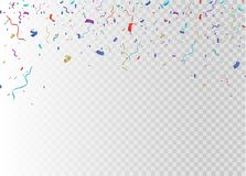 Golden confetti, isolated on cellular background. Festive vector illustration Tiny confetti with ribbon on white. Background. Festive event and party. Vector Royalty Free Stock Images