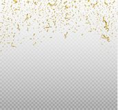 Golden confetti, isolated on cellular background. Festive vector illustration Tiny confetti with ribbon on white. Background. Festive event and party. Vector Stock Photo