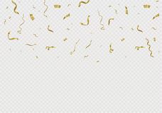 Golden confetti, isolated on cellular background. Festive vector illustration Tiny confetti with ribbon on white. Background. Festive event and party. Vector Royalty Free Stock Photography