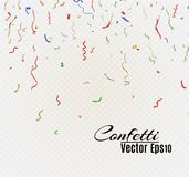 Golden confetti, isolated on cellular background. Festive vector illustration Tiny confetti with ribbon on white. Background. Festive event and party. Vector Stock Images