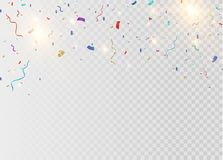 Golden confetti, isolated on cellular background. Festive vector illustration Tiny confetti with ribbon on white. Background. Festive event and party. Vector Stock Photos