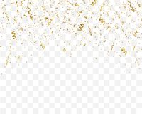 Golden confetti isolated on checkered background. Festive template. Vector illustration of falling particles for holydays design Stock Photos