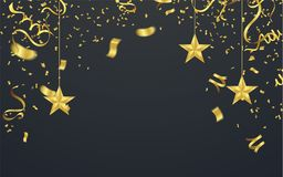 Golden confetti isolated. Festive background. Vector illustratio. N gold tiny confetti pieces Royalty Free Stock Photos