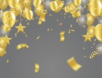 Golden confetti isolated. Festive background. Vector illustratio. N gold tiny confetti pieces Stock Image